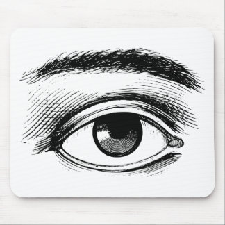 Fun Black and White Vintage Eye Illustration Mouse Pad