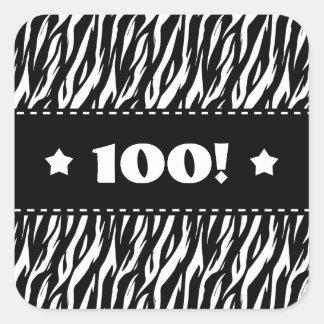 Fun Black and White Zebra Stars 100th Birthday A07 Square Sticker