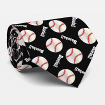 Fun Black Baseball Pattern Tie