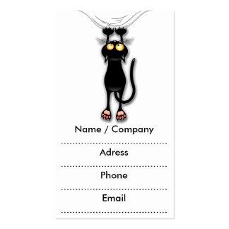 Fun Black Cat Falling Down Business Cards