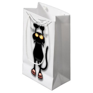 Fun Black Cat Falling Down Custom Gift Bag