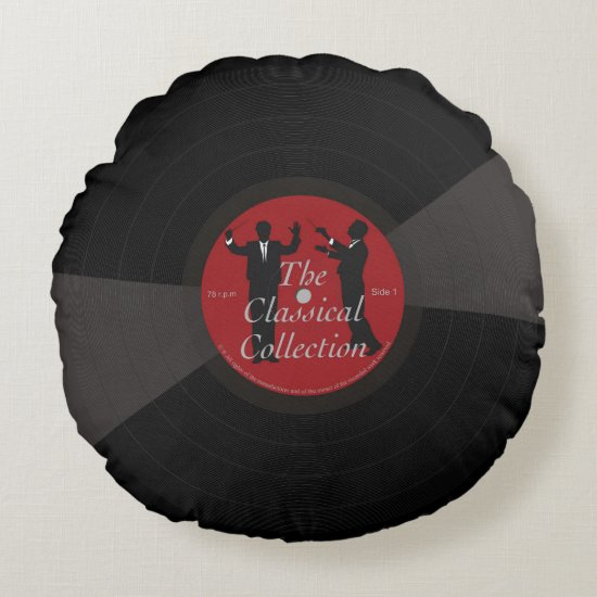 Fun black classical music vinyl record, round pillow