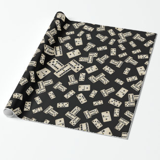Fun black domino pattern wrapping paper