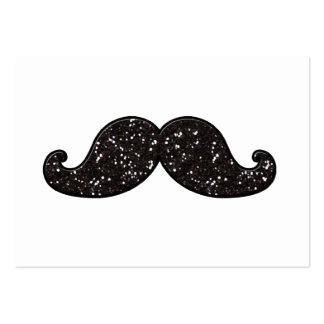 FUN BLACK GLITTER MUSTACHE LARGE BUSINESS CARDS (Pack OF 100)