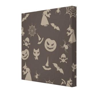 Fun Black Grey Halloween Design Stretched Canvas Prints
