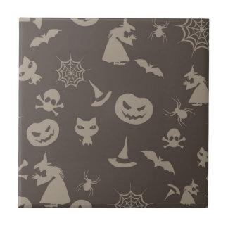 Fun Black & Grey Halloween Design Ceramic Tiles