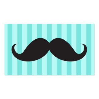 Fun black mustache on aqua stripes business card