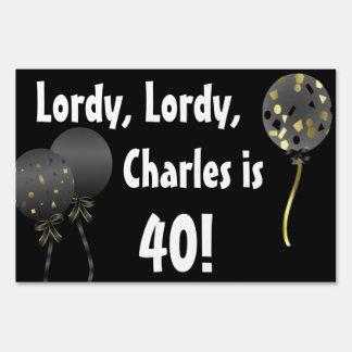 Fun Black Over The Hill Birthday Yard Sign
