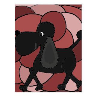 Fun Black Poodle Abstract Postcard