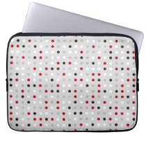 Fun Black Red Gray Polka Dot Pattern Laptop Sleeve