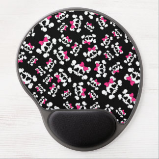 Fun black skulls and bows pattern gel mouse pad