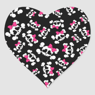 Fun black skulls and bows pattern heart sticker