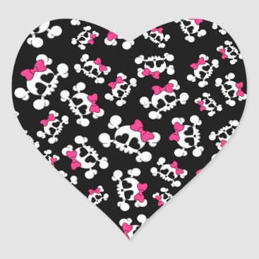 Valentines Themed Fun black skulls and bows pattern heart sticker