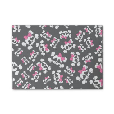 Valentines Themed Fun black skulls and bows pattern post-it notes