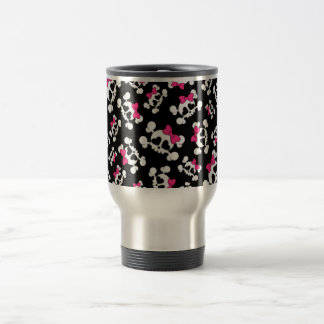 Fun black skulls and bows pattern travel mug