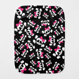 Fun black skulls and bows pattern baby burp cloth