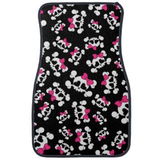 Fun black skulls and bows pattern floor mat