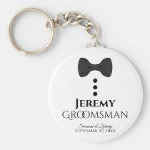 Fun Black Tie Tuxedo Groomsman Wedding Favor Keychain