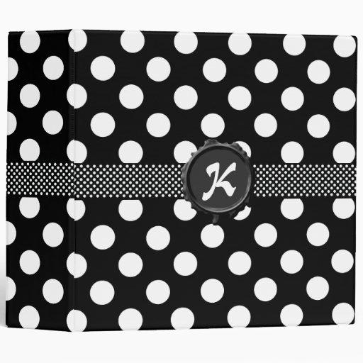 Fun Black & White Polka Dot Monogram Binder