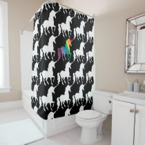Fun Black & White Rainbow Unicorn Pattern Pretty Shower Curtain