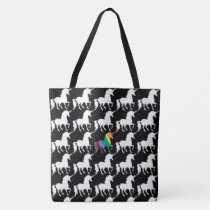 Fun Black & White Rainbow Unicorn Pattern Pretty Tote Bag