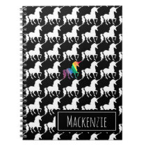 Fun Black & White Unicorn Rainbow Personalized Notebook