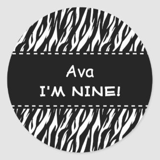 Fun Black White Zebra Custom 9th Birthday Classic Round Sticker