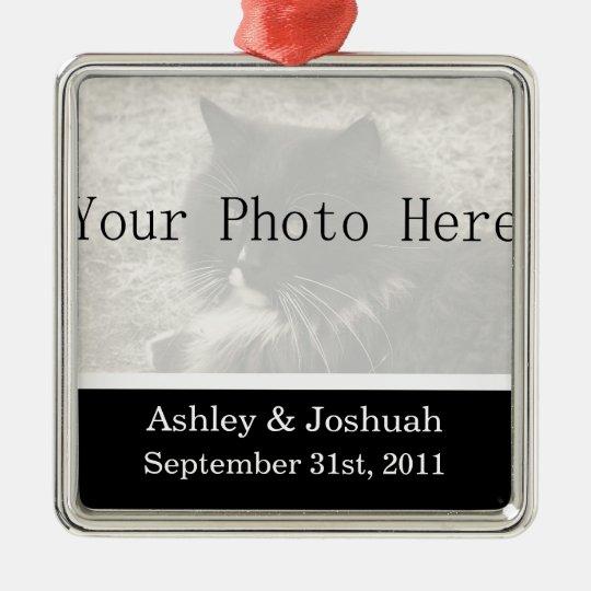 Fun Black Your Photo Wedding Names Ornament