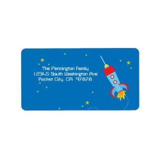 Fun blast off spaceship address label