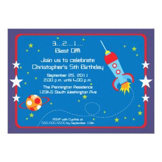 Fun blast off spaceship boys birthday party invite