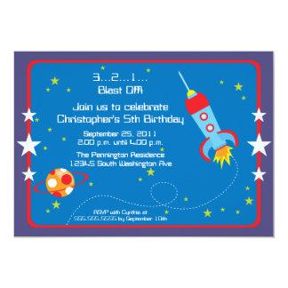 "Fun blast off spaceship boys birthday party invite 5"" x 7"" invitation card"