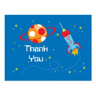 Fun blast off spaceship boys thank you postcard