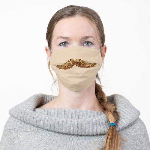 Fun Blonde Mustache Cloth Face Mask