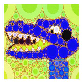 """Fun Blue Alligator Crocodile Retro Circles Mosaic 5.25"""" Square Invitation Card"""