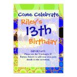 Fun Blue Alligator Crocodile Retro Circles Mosaic 5x7 Paper Invitation Card