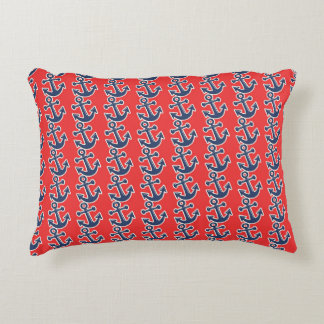 Fun Blue Anchors on Red Decorative Pillow