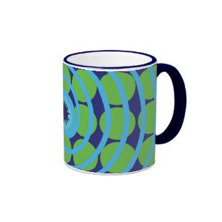 Fun Blue and Green Swirl Spiral Polka Dots Pattern Ringer Coffee Mug