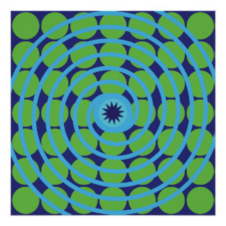 Fun Blue and Green Swirl Spiral Polka Dots Pattern Poster