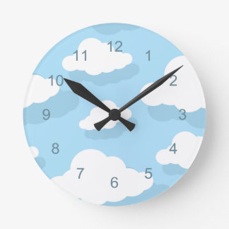 Fun blue and white clouds with numbers clock