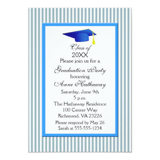 Fun Blue And White Stripe Graduation Party Card