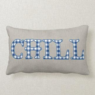 Fun Blue Check Faux Applique Text Design Chill Lumbar Pillow