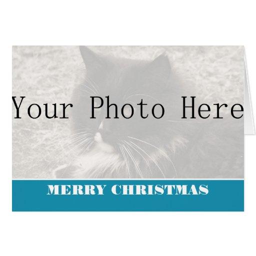 Fun Blue Design   Your Photo Christmas Card