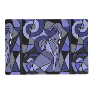 Fun Blue Elephant Abstract Art Placemat