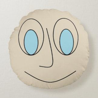 Fun Blue Eyed Smiley Face Design Round Pillow