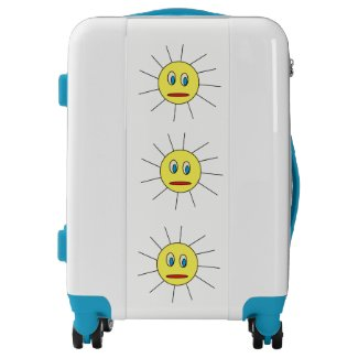 Cute Yellow Sun Face Design Suitcase Luggage
