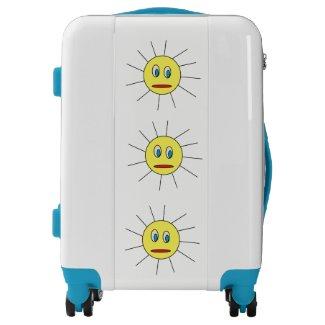 Cute Yellow Sun Face Design Suitcase Luggage