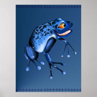 Fun Blue Frog Poster