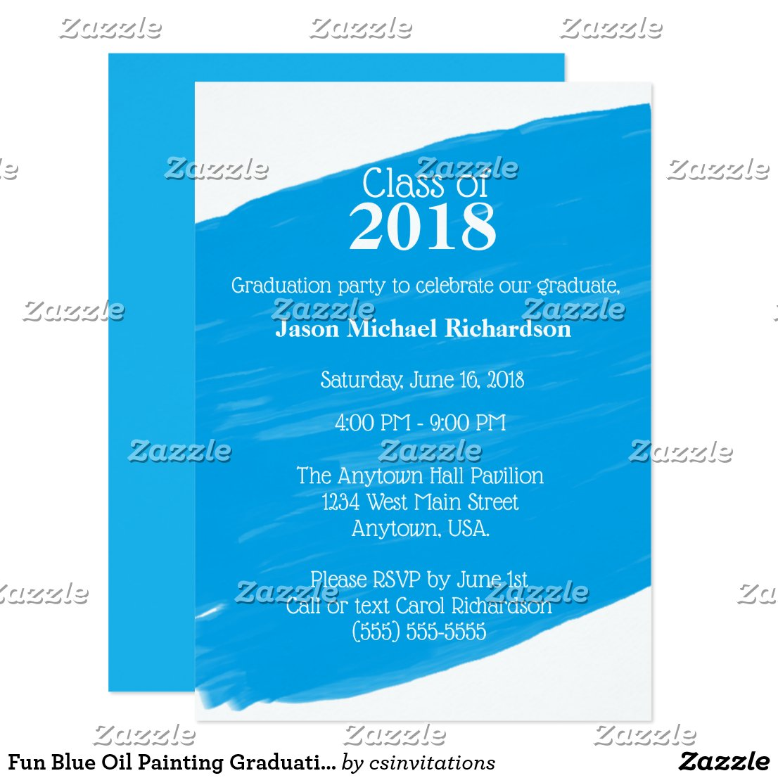 Fun Blue Oil Painting Graduation Party Card