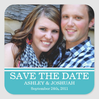 Fun Blue Photo Save The Date Stickers