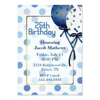 Fun Blue Polka Dots & Balloons Birthday Invitation